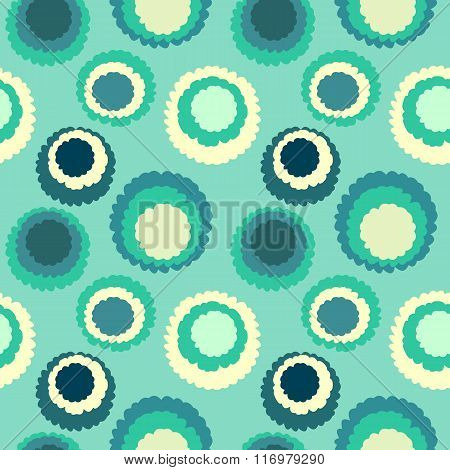 Seamless geometric polka do spotty pattern. Polka dot motley texture. Circles with torn paper effect