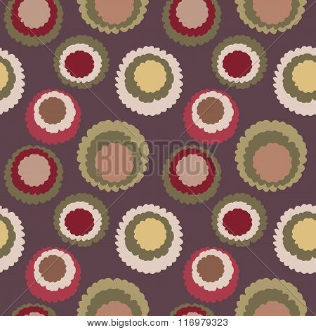 Seamless polka dot, motley texture. Abstract spotty pattern. Circles with torn paper effect. Brown,