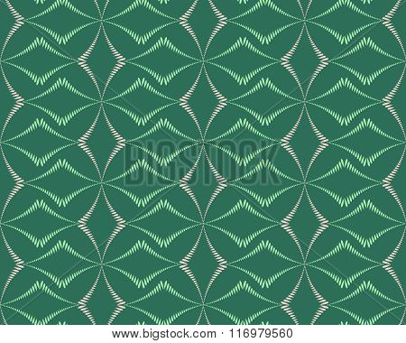 Seamless geometric abstract pattern. Rhombus bands, lines on light brown background. Green, gray, be
