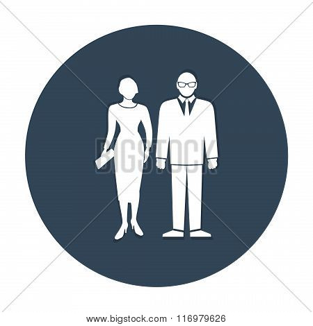 People icon. Introduction symbol. Standing elegant woman and man. White signs on round dark gray but