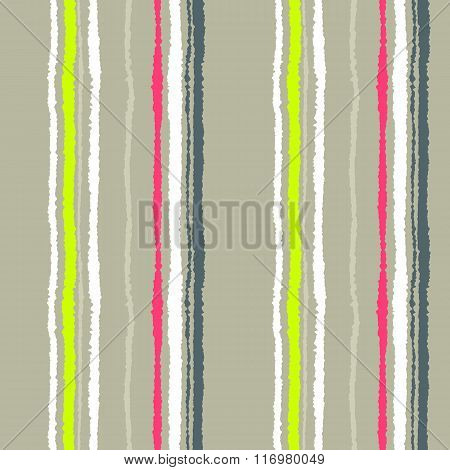 Seamless strip pattern. Vertical lines with torn paper effect. Shred edge texture. Cold soft gray, y