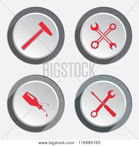 Screwdriver, hammer, wrench key icon, bolt nut, glue, oil-can. Repair fix tool symbol. Red sign whit