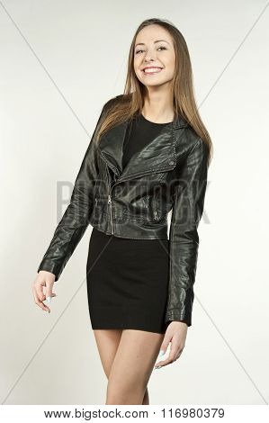 Happy Hip Young Girl in Leather