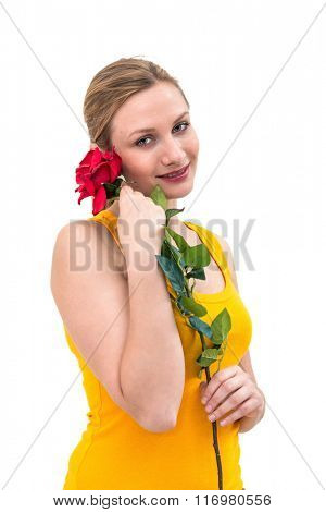 beautiful young woman holding red rose on white background