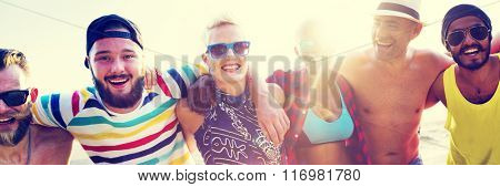 Diverse People Friends Fun Bonding Beach Summer Concept