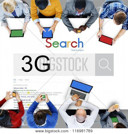 3G Technology Word Searching Discover Concept