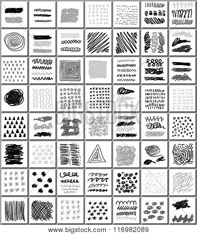 Set Of Hand Drawn Monocrome Textures