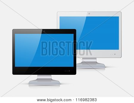 Black And White Monitor Isolated On White