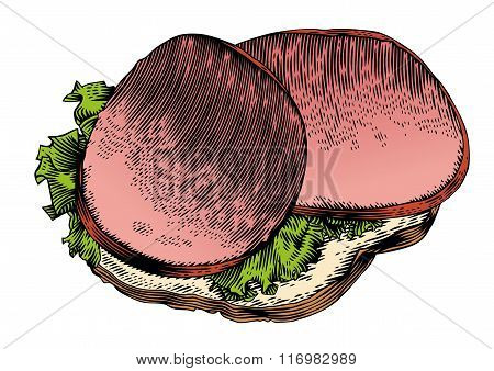 Sandwich With Smoked Sausages And Lettuce