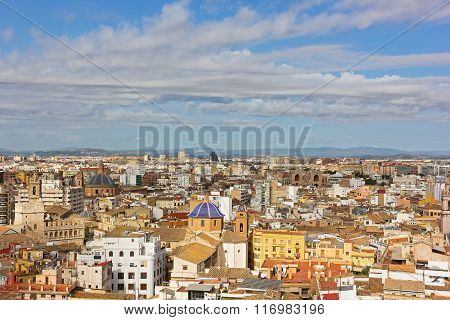 Aerial view on Valencia old city landmarks and urban architecture.