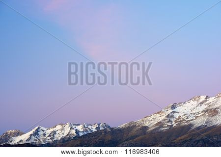 Snowy peak in Tena Valley, Aragon, Huesca, Spain.