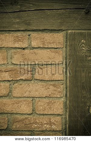 Architecture. Brick Wall With Wooden Beams Background