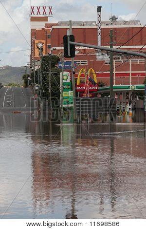 Brisbane, Australia - Jan 13 : Flood  Brisbane Milton Brewery Area Queensland Declared Natural Disat