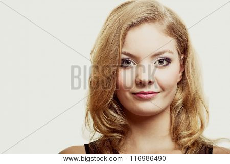 Beauty Woman Face With Makeup Long Blond Hair