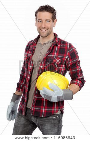 Handsome smiling contractor isolated over white background