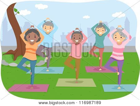 Illustration of Senior Citizens Enjoying their Yoga Outdoor Activity