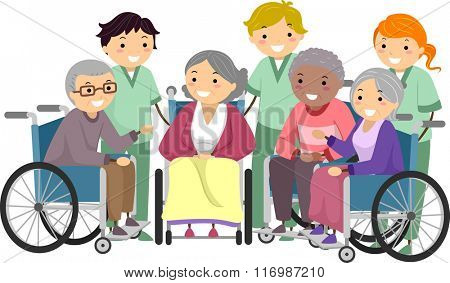 Illustration of Senior Citizens Chatting with their Caregivers