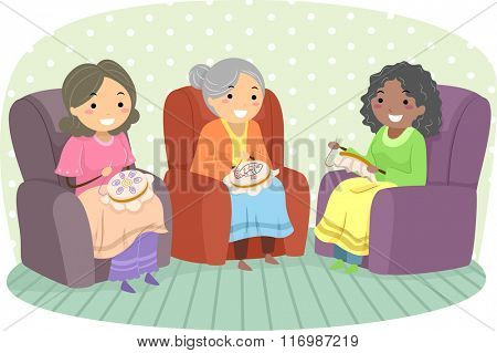Illustration of Female Senior Citizens Enjoying Embroidery