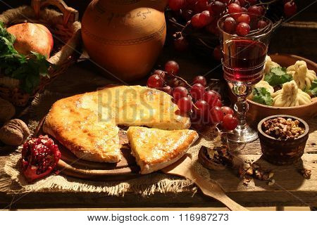 Still-life With Red Wine, A Pie With Cheese And Fruit