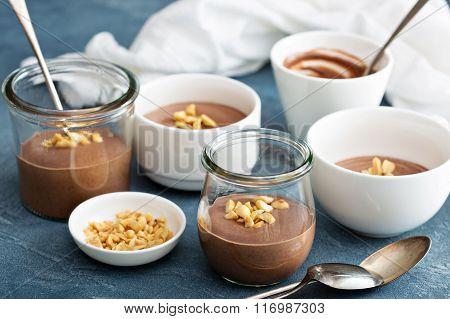 Chocolate yogurt dessert with salted peanuts