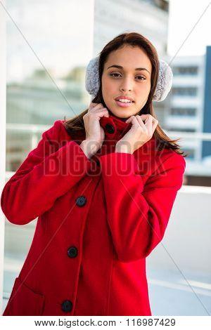 Portrait of women wearing coat ouside