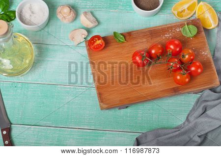 Cherry Tomatoes, Basil, Lemon, Pepper, Salt And Oil