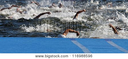 STOCKHOLM - AUG 22 2015: Chaos of swimming arms in the water in the Men's ITU World Triathlon series event August 22 2015 in Stockholm Sweden