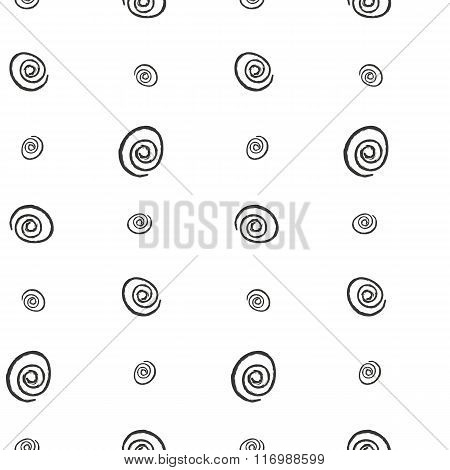Spiral imitation ink on a white background seamless pattern