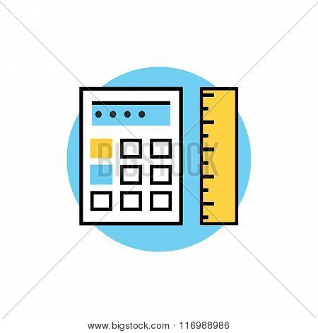 Icon of Ruler with Calculator