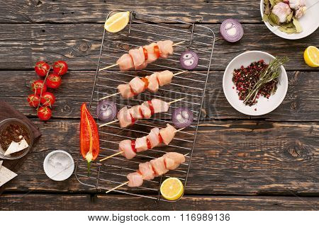 Skewers Of Chicken Breast With Vegetables Cooked On The Grill