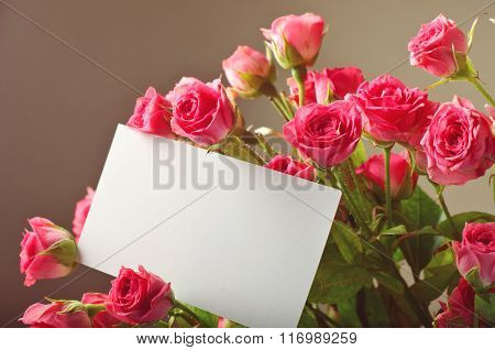 Bouquet Of Beautiful Red Roses With A Blank Greeting Card