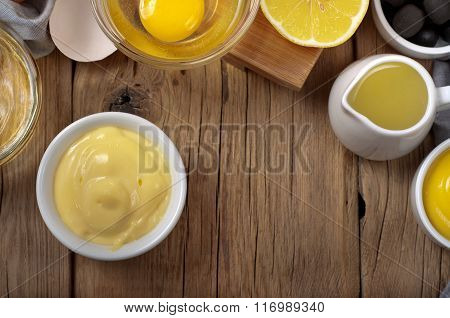 Fresh Homemade Mayonnaise With Ingredients For Making Mayonnaise