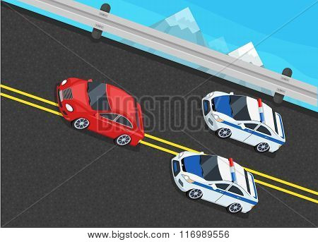 Isometric Police Fines Car design Flat Isolated