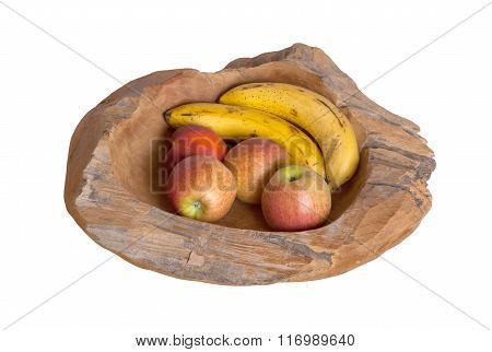 Ripe Fruit Assortment In A Wooden Bowl Isolated