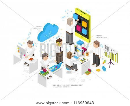 Flat Style, Thin Line Art Design. Set of Mobile Application Development, Web Site Coding, Business and Teamwork vector icons and elements. Modern concept collection. Isometric View Projection.