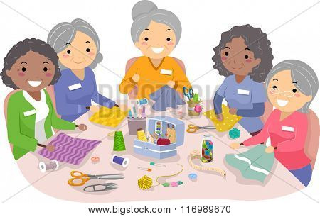 Illustration of Female Senior Citizens Enjoying their Sewing Hobby