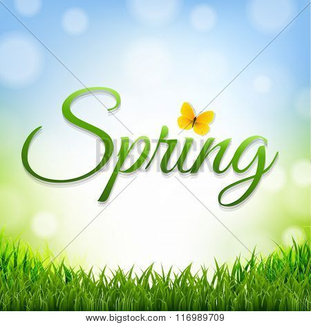 Spring Nature Background With Grass Border With Gradient Mesh, Vector Illustration