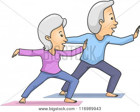Illustration of a Senior Citizen Couple Enjoying While Doing Taichi
