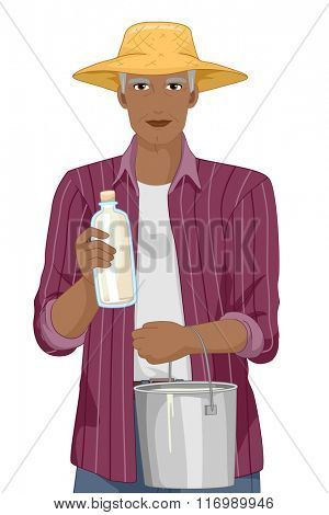 Illustration of a Happy Senior Citizen Holding a Fresh Bottle of Milk