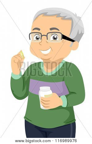 Illustration of a Senior Citizen Taking His Daily Pills