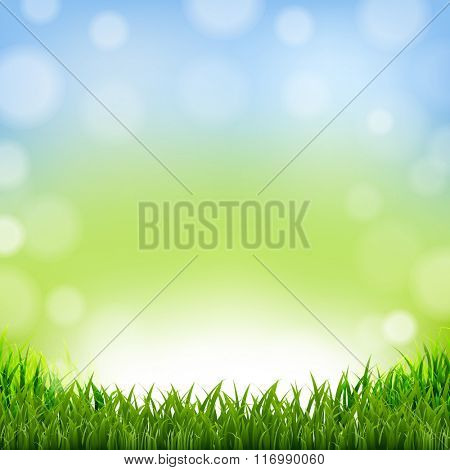 Easter Card With Grass Border With Gradient Mesh, Vector Illustration