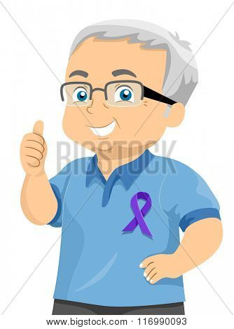 Illustration of a Senior Citizen Wearing a Purple Ribbon