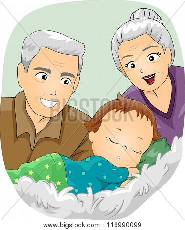 Illustration of a Senior Citizen Couple Looking at a Baby Sleeping