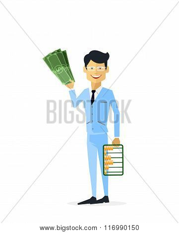 Businessman with Money Gold Isolated