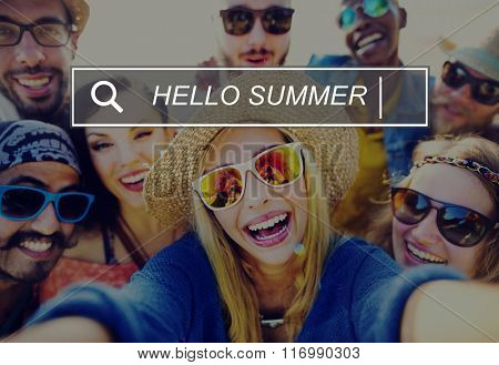 Hello Summer Beach Browsing Search Box Concept