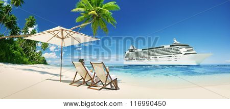 A couple relaxing on the beach Cruise Ship Concept