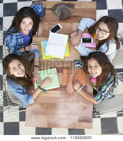 Group of teen Students Studying together at Library