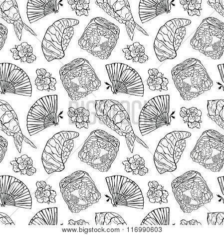 Japanese food. Sushi and rolls. Fan and cherry blossoms. Vector seamless pattern (background).