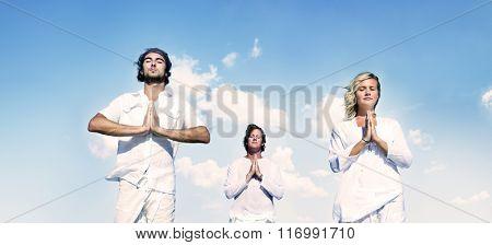 People Yoga Meditation Nature Peaceful Concept