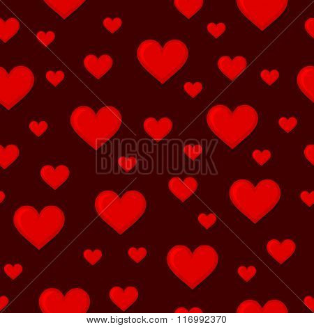 Red Hearts Seamless Background Pattern. Vector